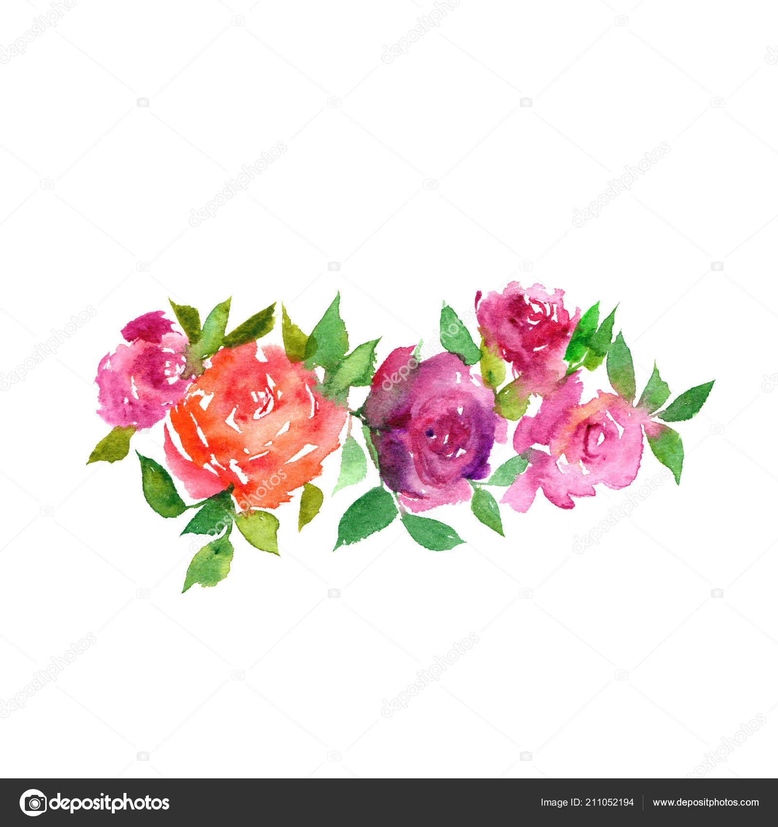 watercolor flowers floral set decor pink painting flowers decorative