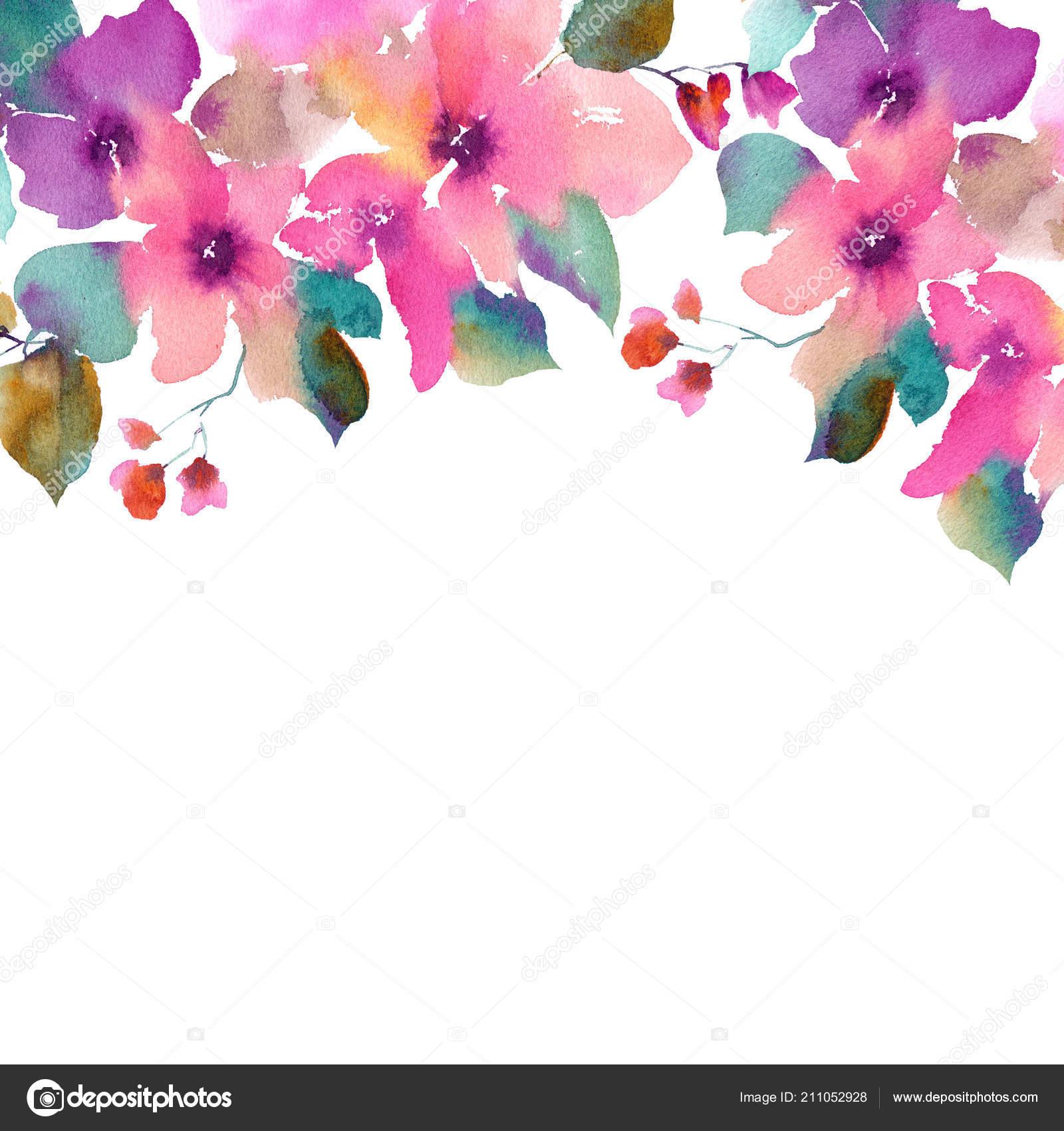Watercolor Flowers Floral Frame Flowers Border Painting Flowers Pink