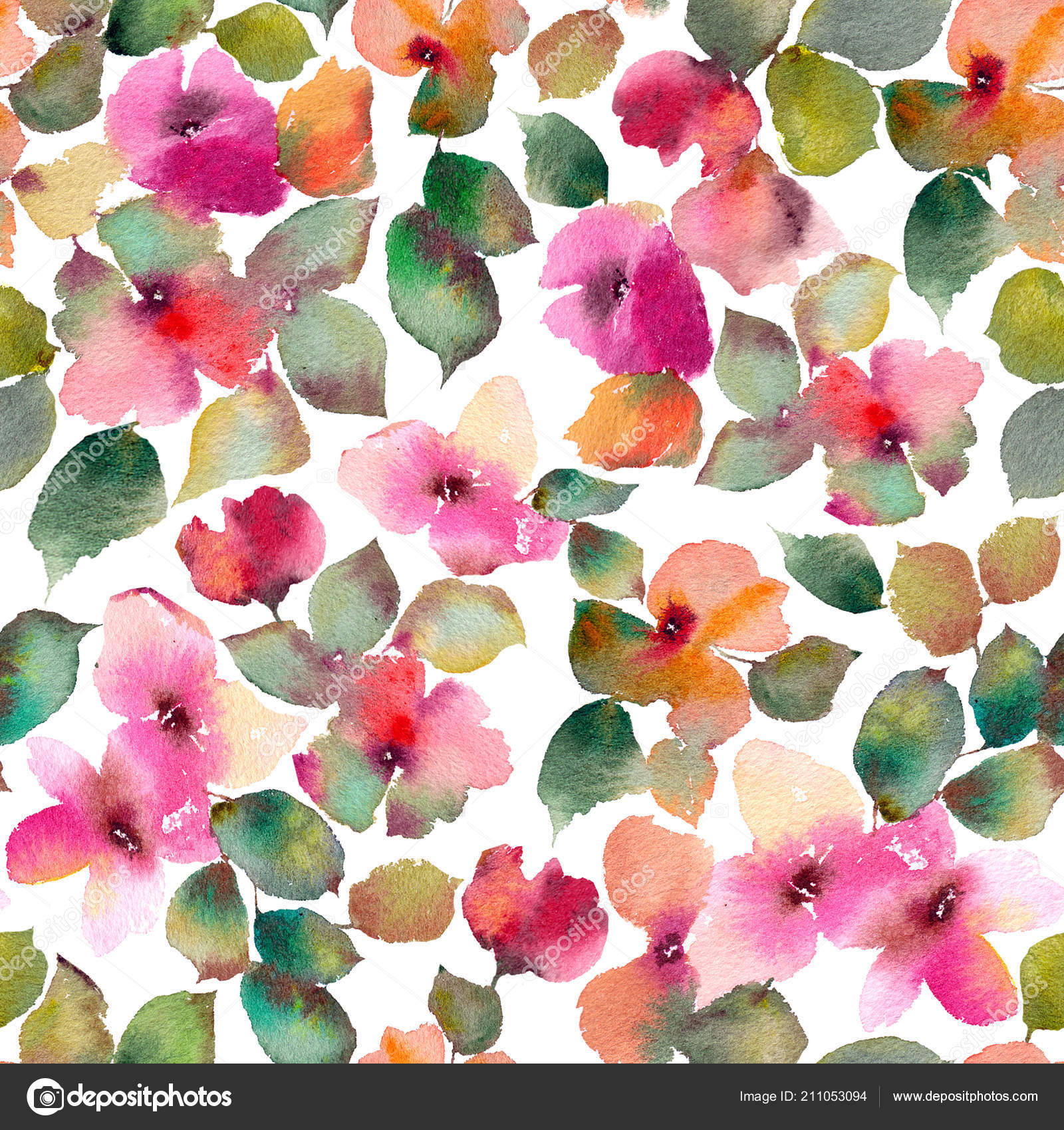 Watercolor Flower Print Fabric Watercolor Floral Background