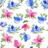 Varrat nélküli virágos háttér. Virágmintás anyag. Textil minta sablon. Rózsaszín és kék virágok. Akvarell virágos háttér. Esküvői meghívó tervező.