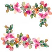 Akvarelu květiny. Květinový rámeček. Květiny hranice. Malování květin. Kytice růžových růží. Svatební Pozvánka design. Květinová přání.