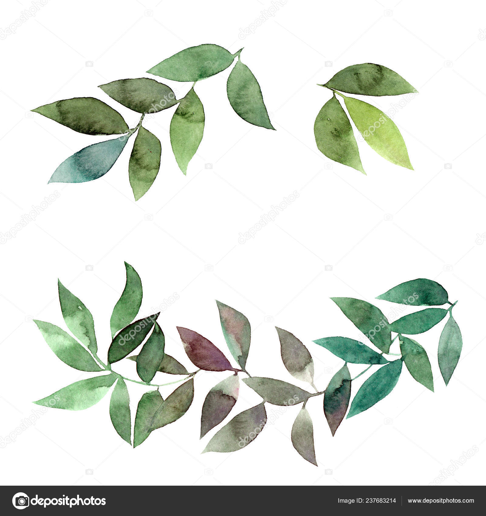 Hand Drawn Abstract Floral Wallpaper Green Leaves — Stock Photo ...