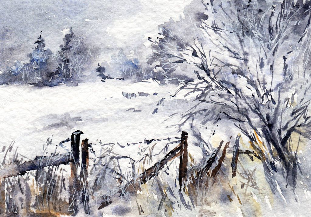 Winter rural landscape with broken fence and trees