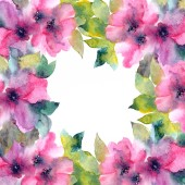 Floral frame. Watercolor pink flowers. Floral greeting card.