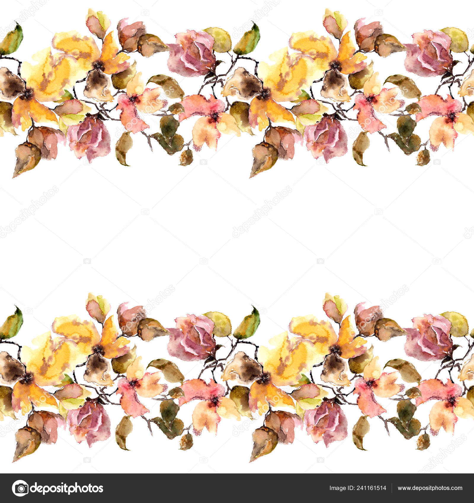 Seamless Floral Border Watercolor Floral Frame Wedding Invitation