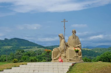Ukraine, Svalyava. The monument to brothers Saint Kirill and Mefodiy in monastery of Kirill Mefodiy.