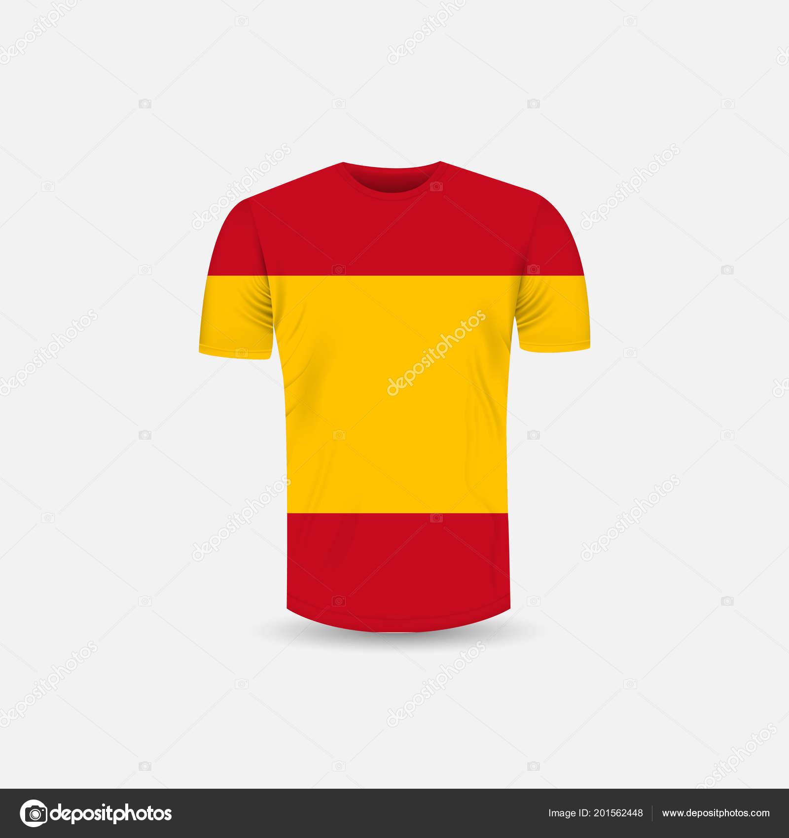 016f4739274b0 Icono de la camiseta de los hombres y España bandera de fondo. Fondo de  Jersey de cuello redondo. Vista frontal. Plantillas de maqueta de sombras y  los ...
