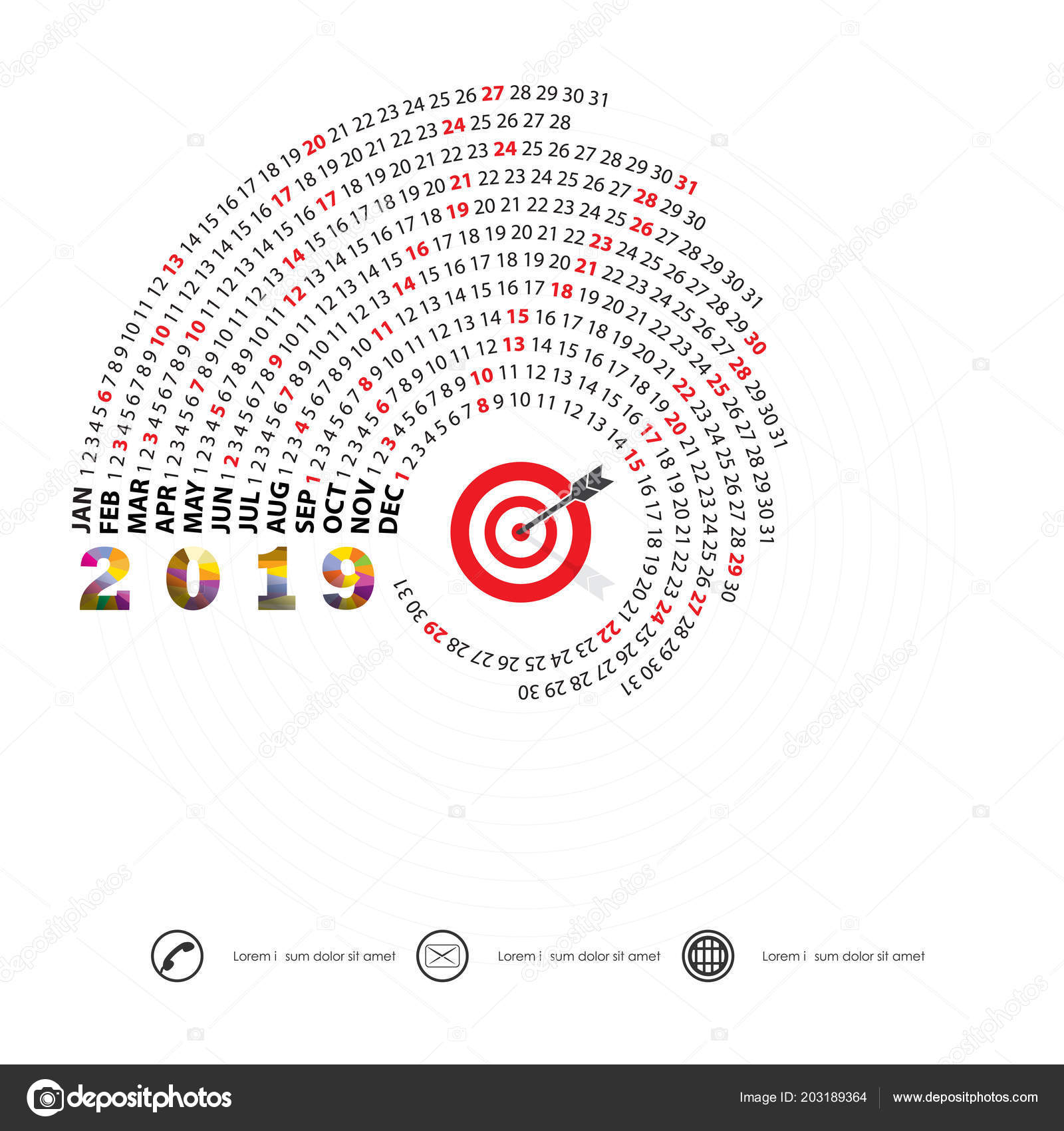 2019 calendar templatespiral calendarcalendar 2019 set of 12 monthsyearly calendar vector design stationery templatevector illustration