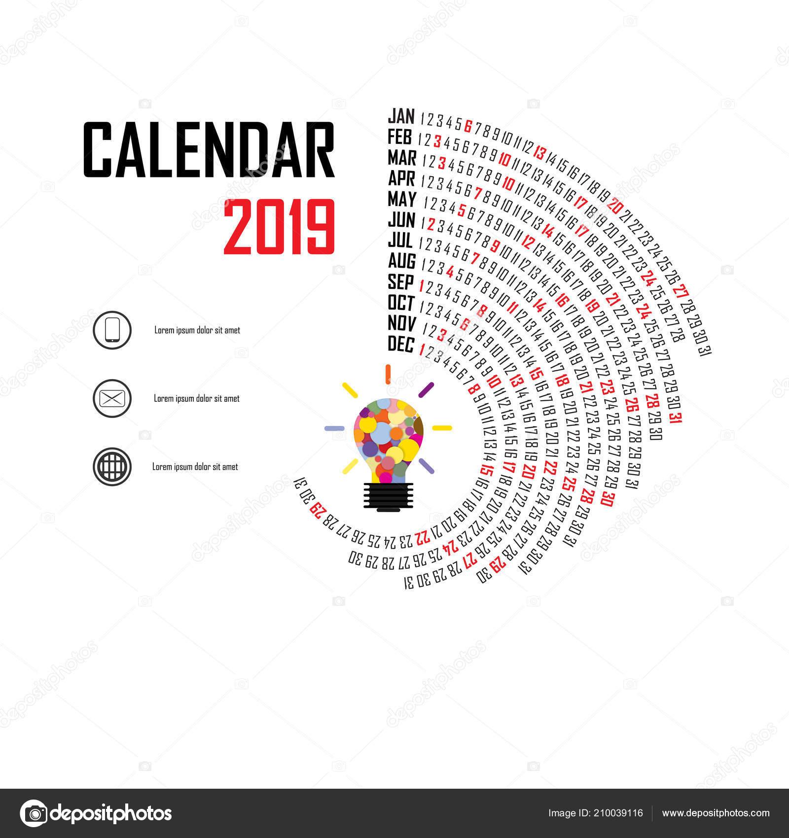 2019 Calendar Template Spiral Calendar Calendar 2019 Set Months