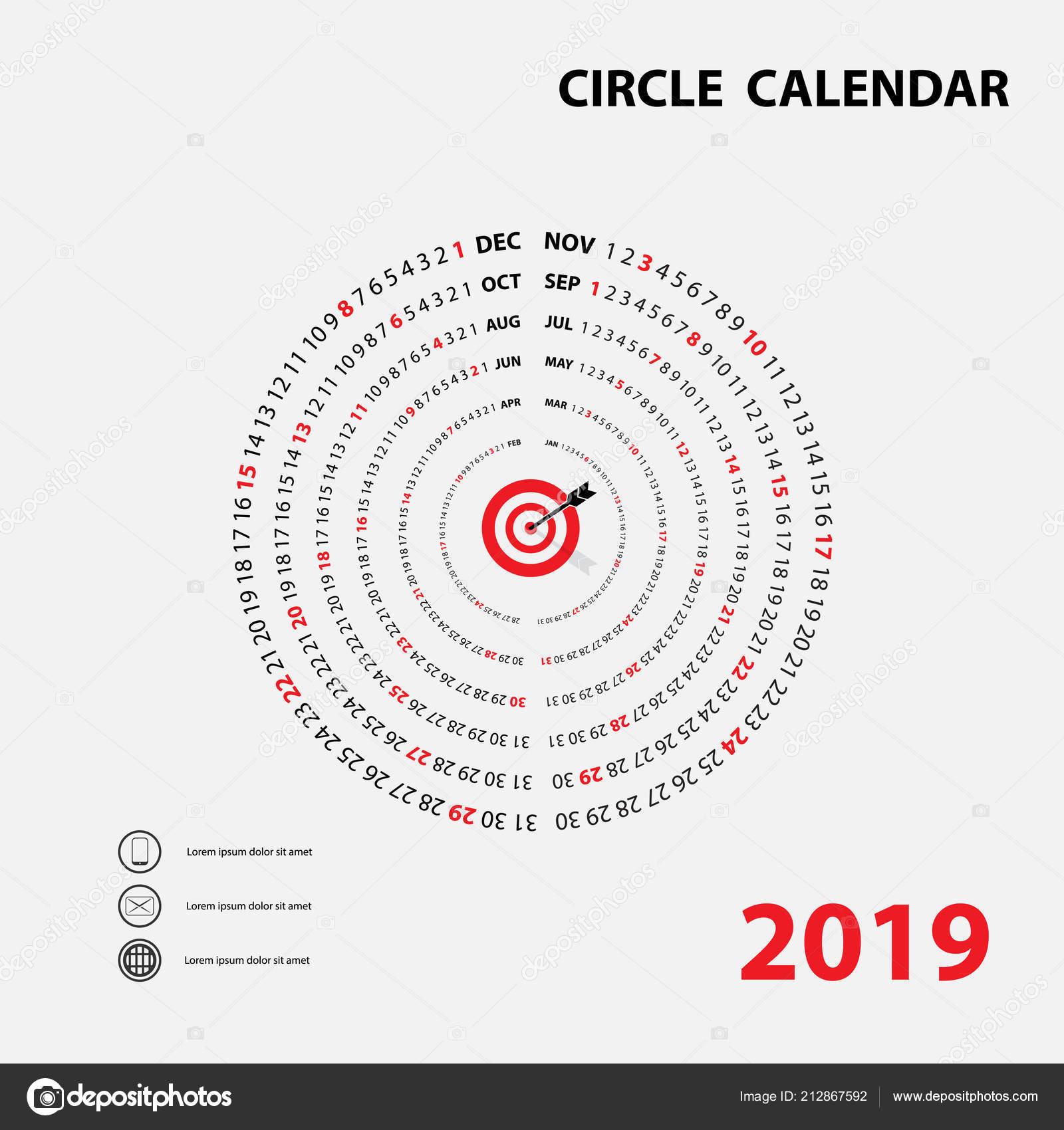 2019 Calendar Template Circle Calendar Calendar 2019 Set Months