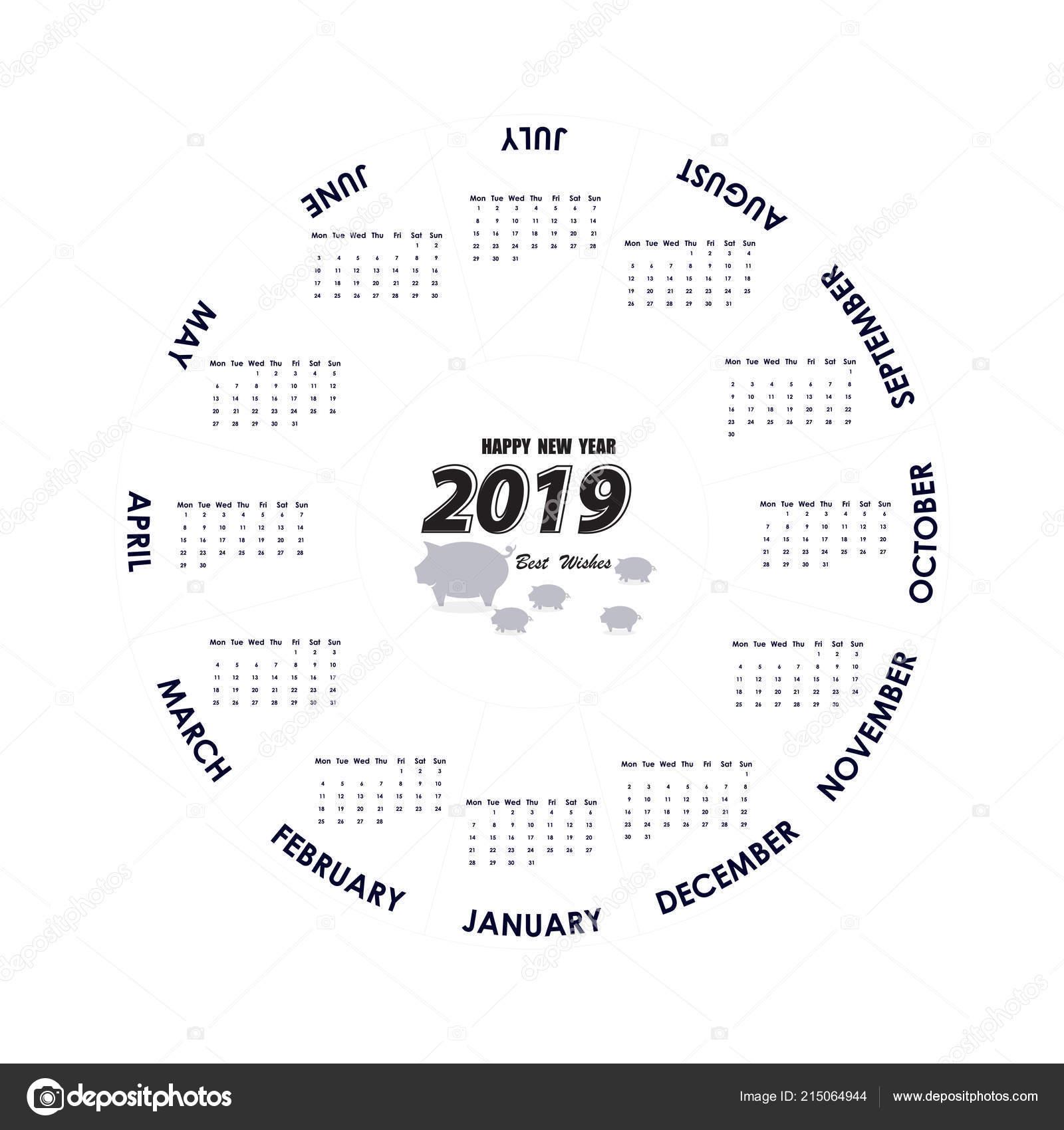 2019 Calendar Template Circle Calendar Template Calendar 2019 Set