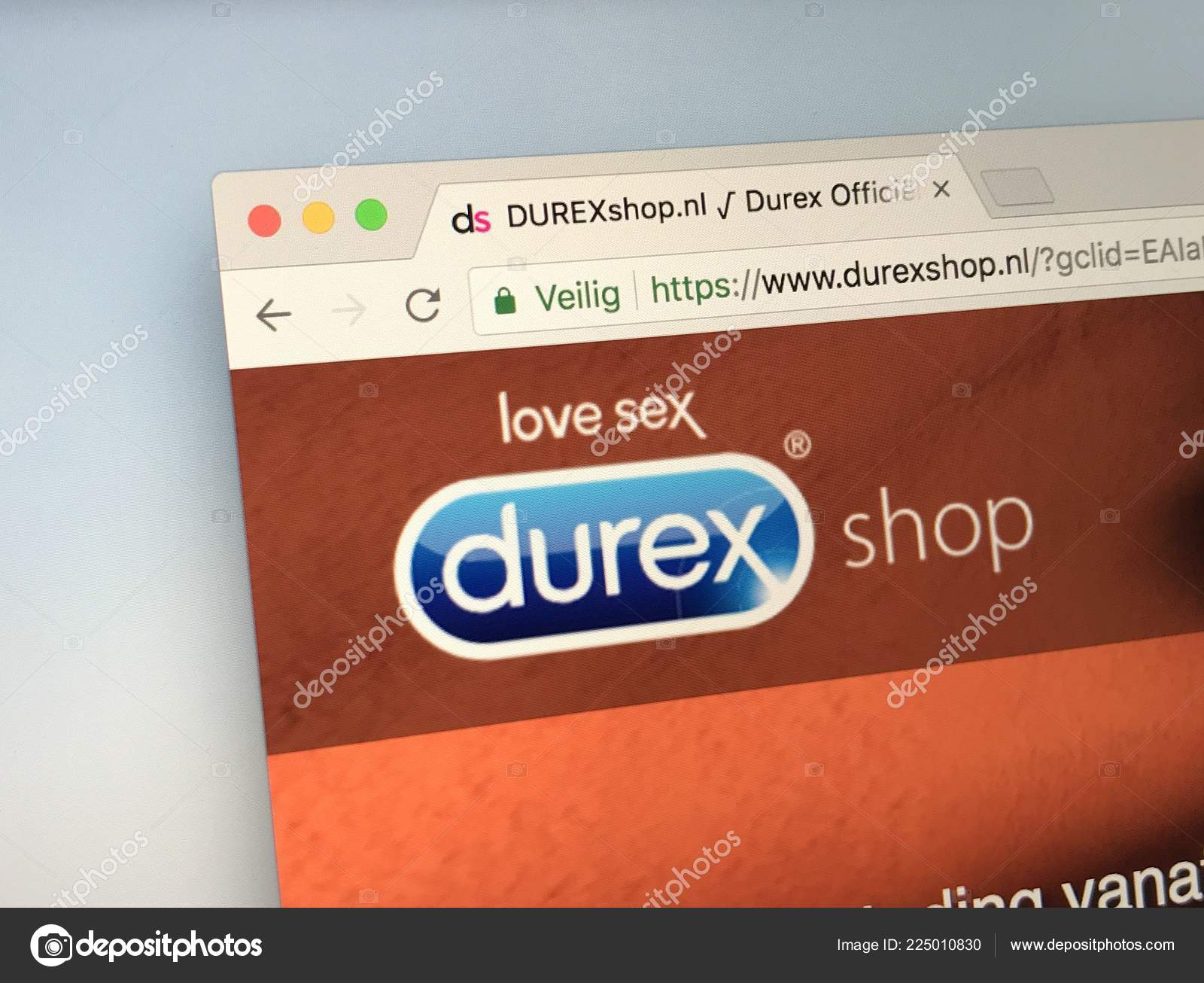Amsterdam, The Netherlands - May 1, 2018: Official homepage of  durexshop.com, Durex manufactures and sells condoms.