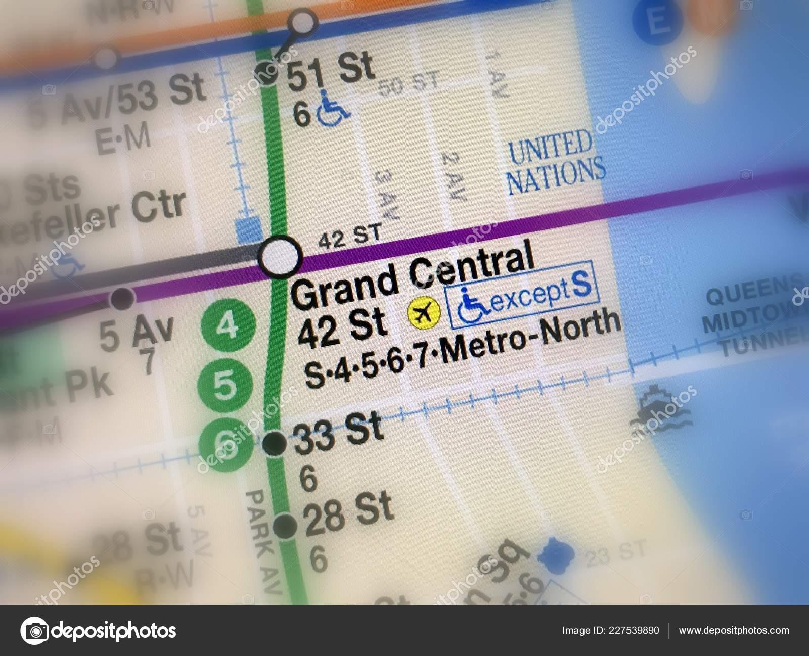Nyc Subway Map Pics Stock.Amsterdam Netherlands November 2018 Map Grand Central Subway Metro