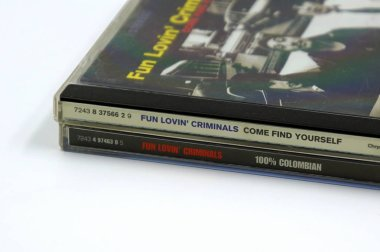 Amsterdam, The Netherlands - February 8, 2019: Compact Disc (CD) Albums from American hip hop, rock, blues, jazz, R&B, punk, and funk band Fun Lovin' Criminals