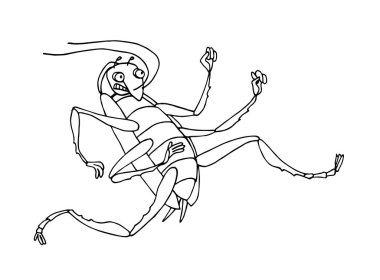 funny running cockroach, beetle, pest insect, symbol of unsanitary conditions, vector illustration with black ink contour lines isolated on a white background in hand drawn style