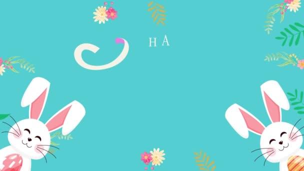 Velikonoční text animovaný záběry v 4k. Zavře text a králík na zeleném pozadí. Luxusní a elegantní šablona pro sváteční styly