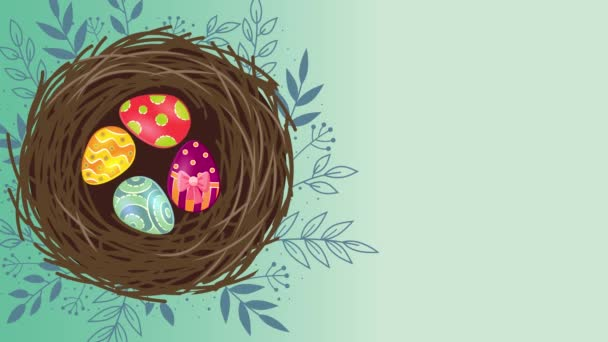 Easter animated footage in 4K. Close up text and rabbit on green background. Luxury and elegant dynamic style holiday template