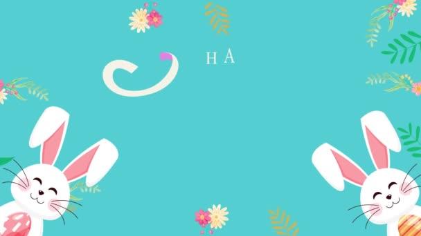 Velikonoční animované záběry ve 4K. Zavřít text a králíka na zeleném pozadí. Luxusní a elegantní dynamický styl prázdninové šablony