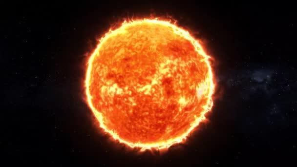 Sonne 4k, Sonne Sonnenatmosphäre isoliert auf grünem Hintergrund, Nahaufnahme der Sonne gegen grünen Bildschirm, 4K 3D Sonnenrotierende Schleife auf grünem Bildschirmhintergrund