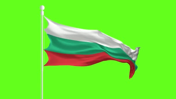 Bulgaria Flag Waving and Fluttering in front of a green screen, flag animation on a green screen