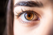 close up of a beautiful woman with brown eyes
