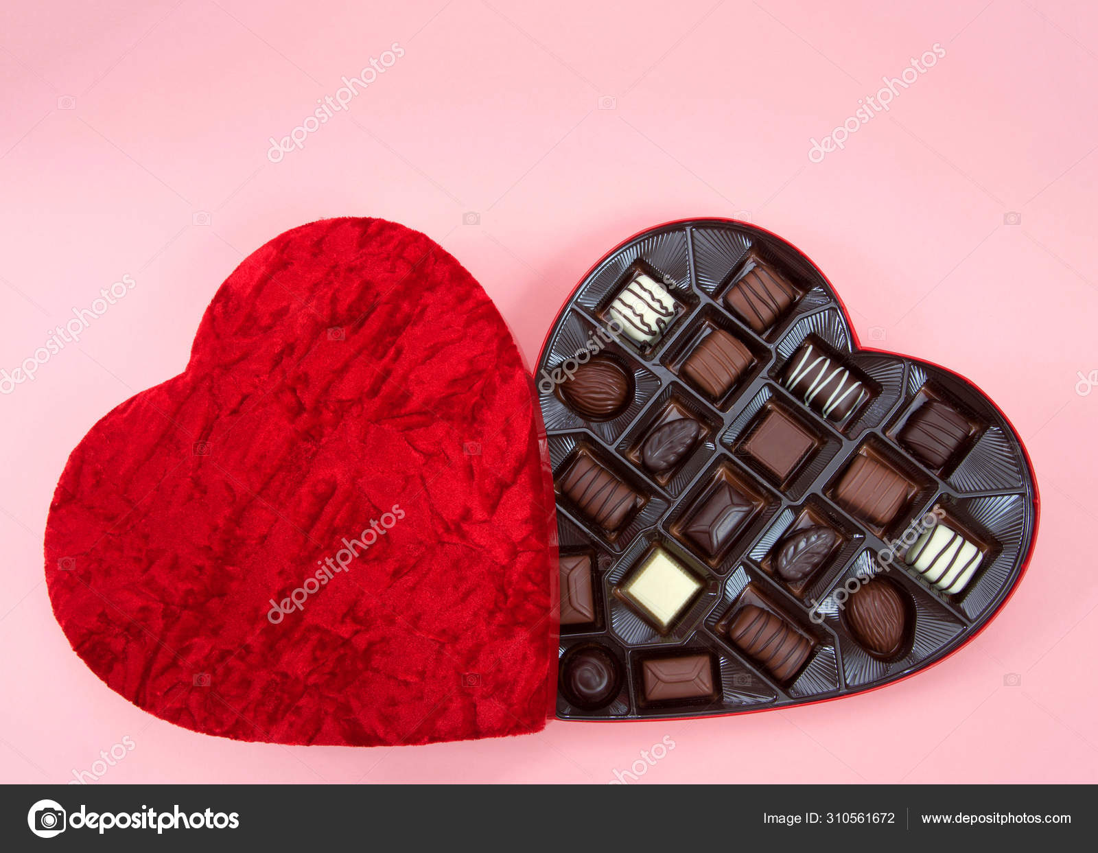 Heart Shaped Box Chocolate Candies Pink Background Popular Gift Valentine Stock Photo C Sheilaf2002 310561672