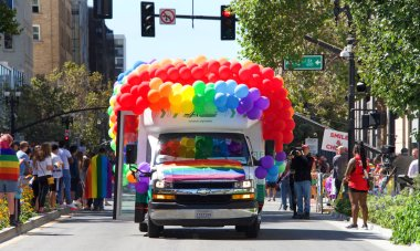 Oakland, CA - September 08, 2019: Unidentified participants celebrate at the 10th annual Oakland Gay Pride Festival and Parade on Broadway, downtown Oakland.
