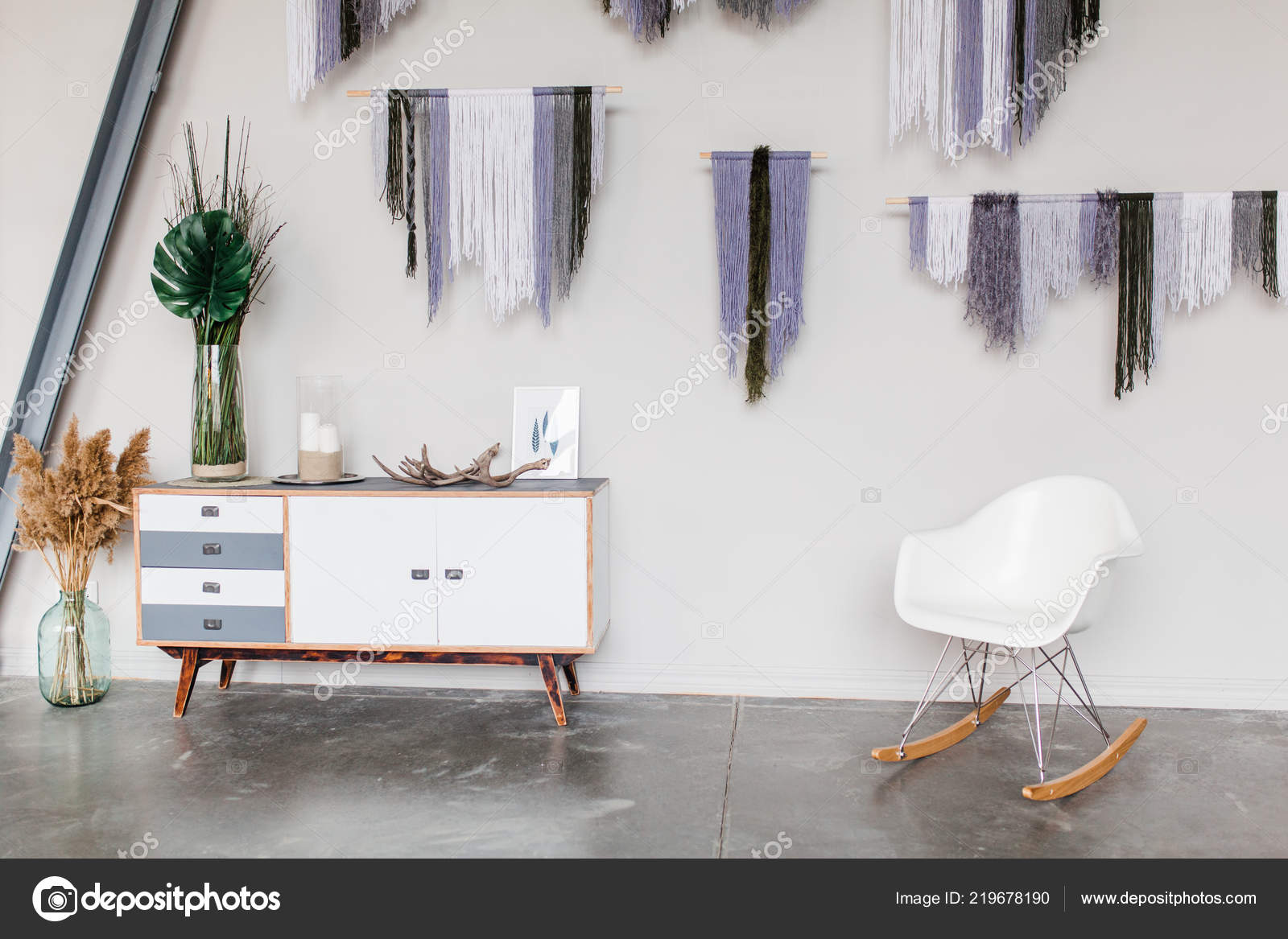 White scandinavian interior decor closeup white chair bureau dream