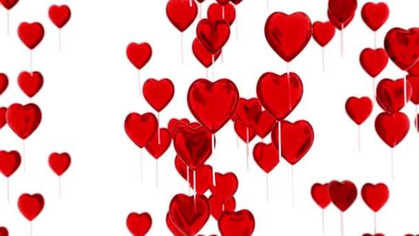 Luftballons in Herzform fliegen. romantischer Hintergrund für den Valentinstag. 3D-Darstellung