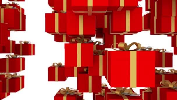 Fehér háttér piros díszdobozok csomagolva, arany szalagok alá. Loopable animáció a karácsonyi ünnepek és a promóciós rendezvények. 4 k 3d render. Hurok