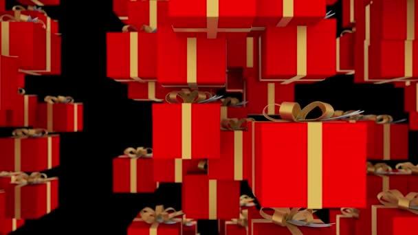 Fekete háttér piros díszdobozok csomagolva, arany szalagok alá. Loopable animáció a karácsonyi ünnepek és a promóciós rendezvények. 4 k 3d render. Hurok