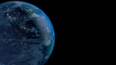 Planet Earth from space 3D illustration orbital view, our planet from the orbit. Elements of this image furnished by NASA