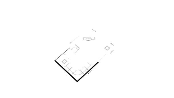 Návrh architektury. Stavební výkresy plochá čára návrh ikon animovaná kresba na bílém pozadí. Izolované. Blueprint