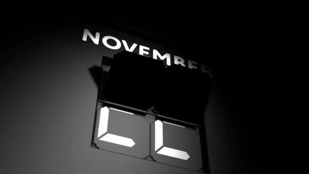 November 23 date. digital calendar change to November 23 animation