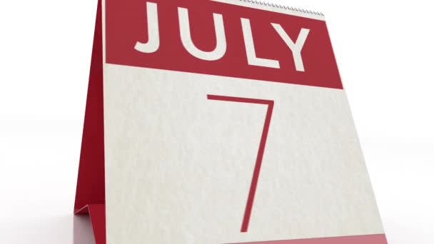 July 8 date. calendar change to July 8 animation