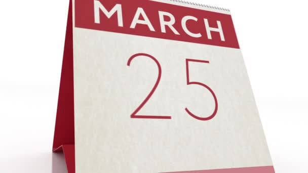 March 26 date. calendar change to March 26 animation