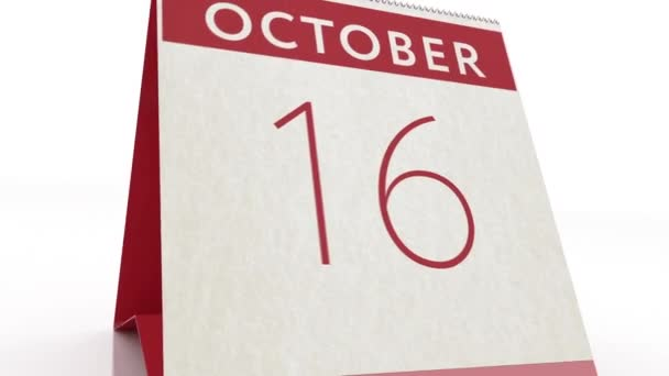October 17 date. calendar change to October 17 animation