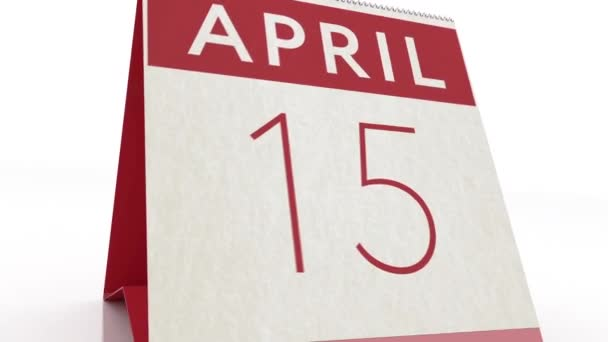 April 16 date. calendar change to April 16 animation