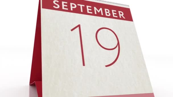 Datum 20. September. Kalenderwechsel zum 20. September