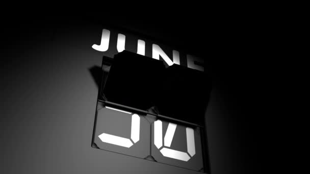 July 1 date. digital calendar change to July 1 animation
