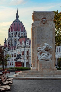 Unusal view about the Hungarian Parliament building. New monument on the friont II. Ferenc Rakoczi Statue on the middle and the Hungaraian government building on the background