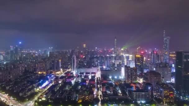 shenzhen město v noci letecký pohled 2