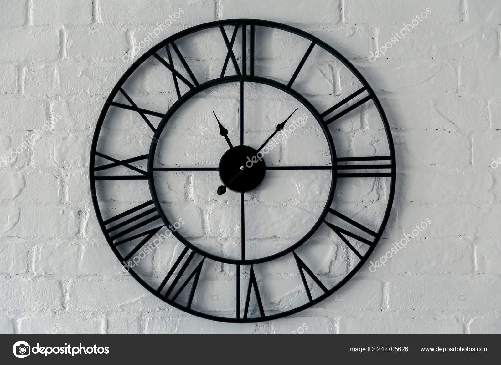 Vintage Clock Roman Numeral Wall Clock Face Dialrustical White Brick Stock Photo Image By Ondrooo 242705626