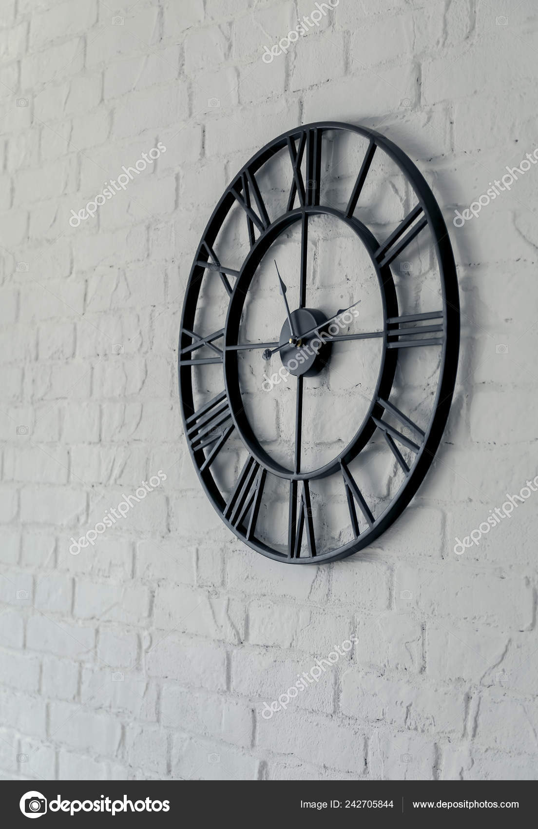 Vintage Clock Roman Numeral Wall Clock Face Dialrustical White Brick Stock Photo Image By Ondrooo 242705844