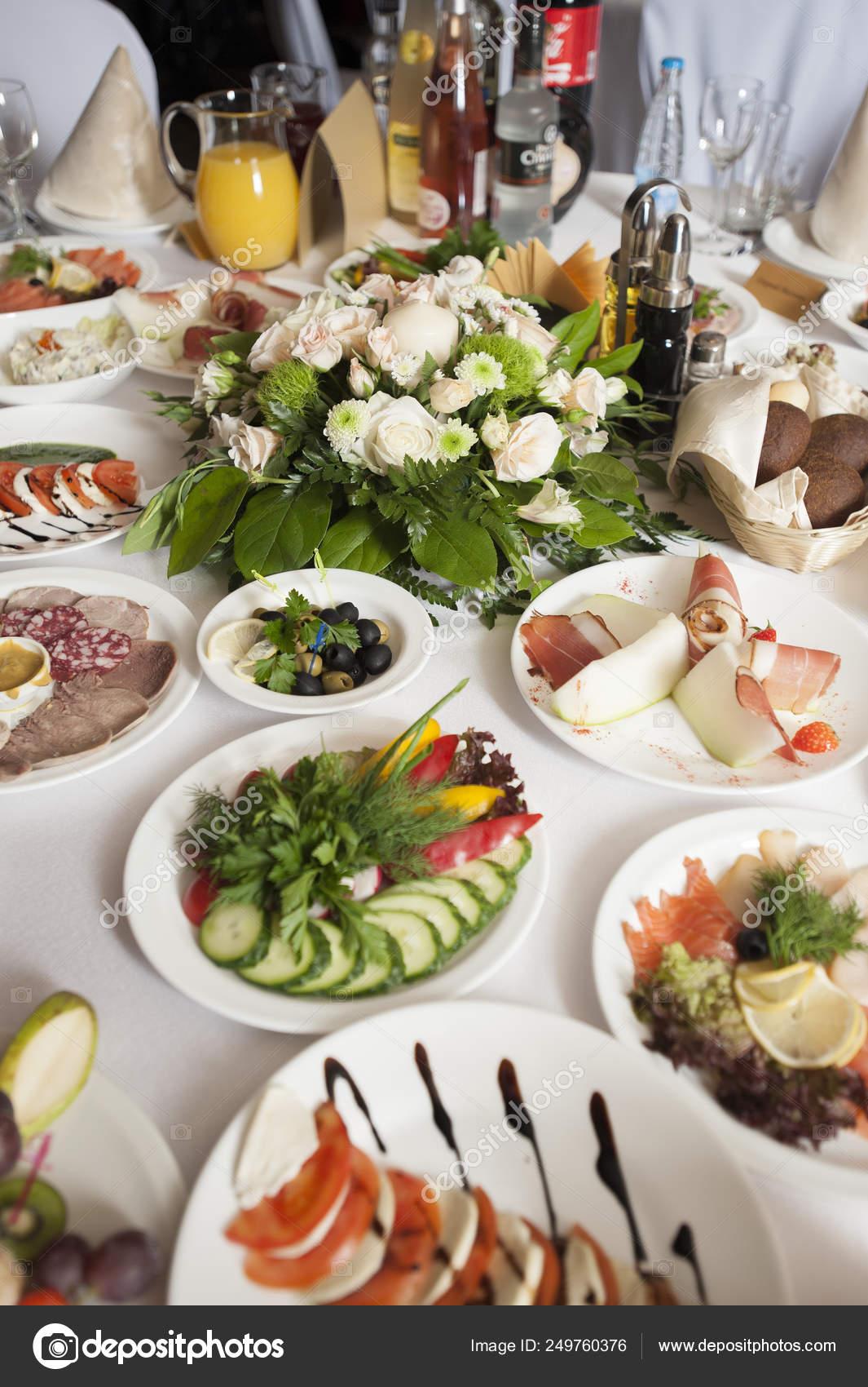Banquet Table Restaurant Food Drinks Flowers Decoration Stock Photo C Mariyal 249760376