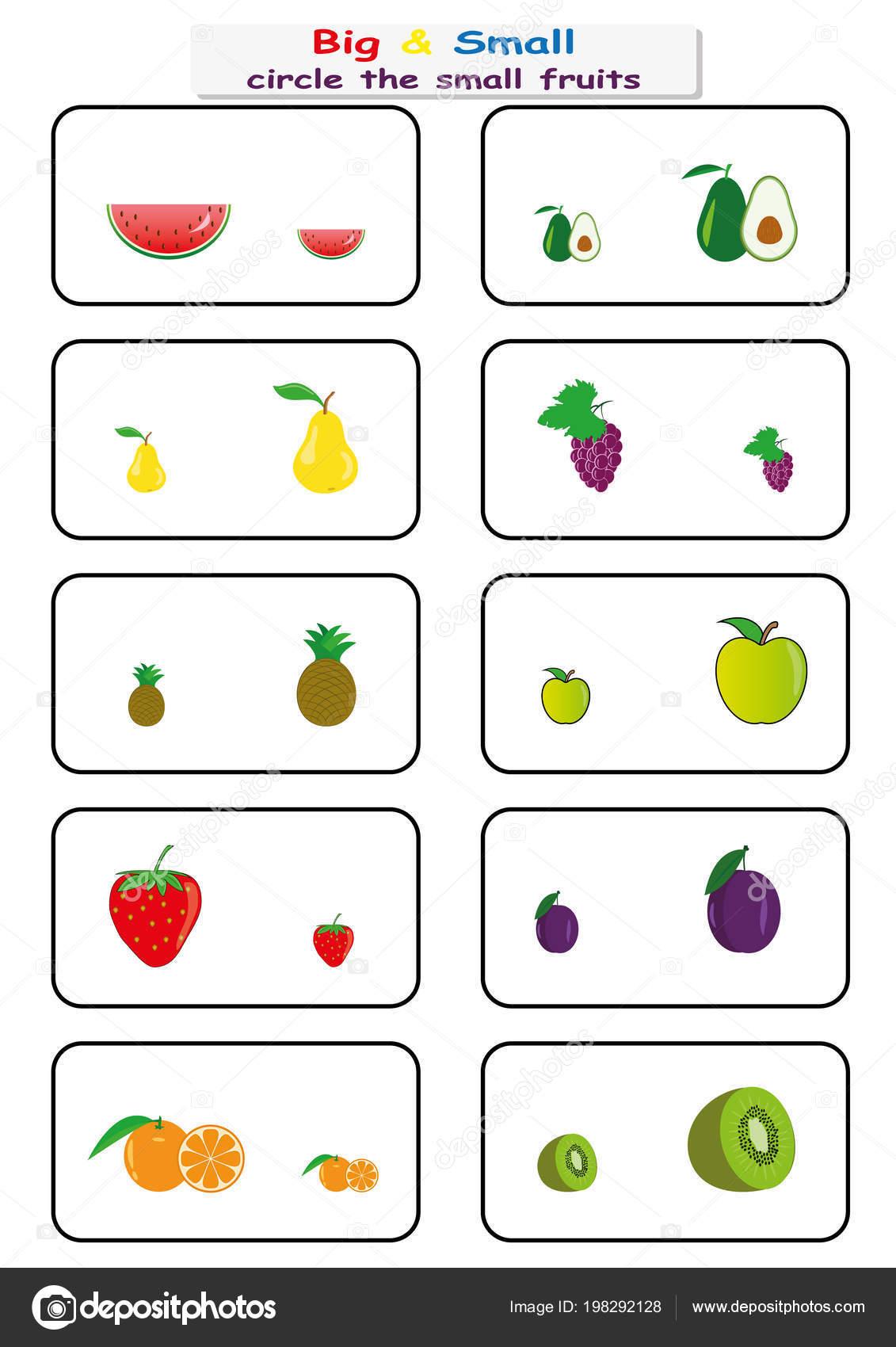 Kreisen Sie die kleine Früchte, finden große oder kleine ...