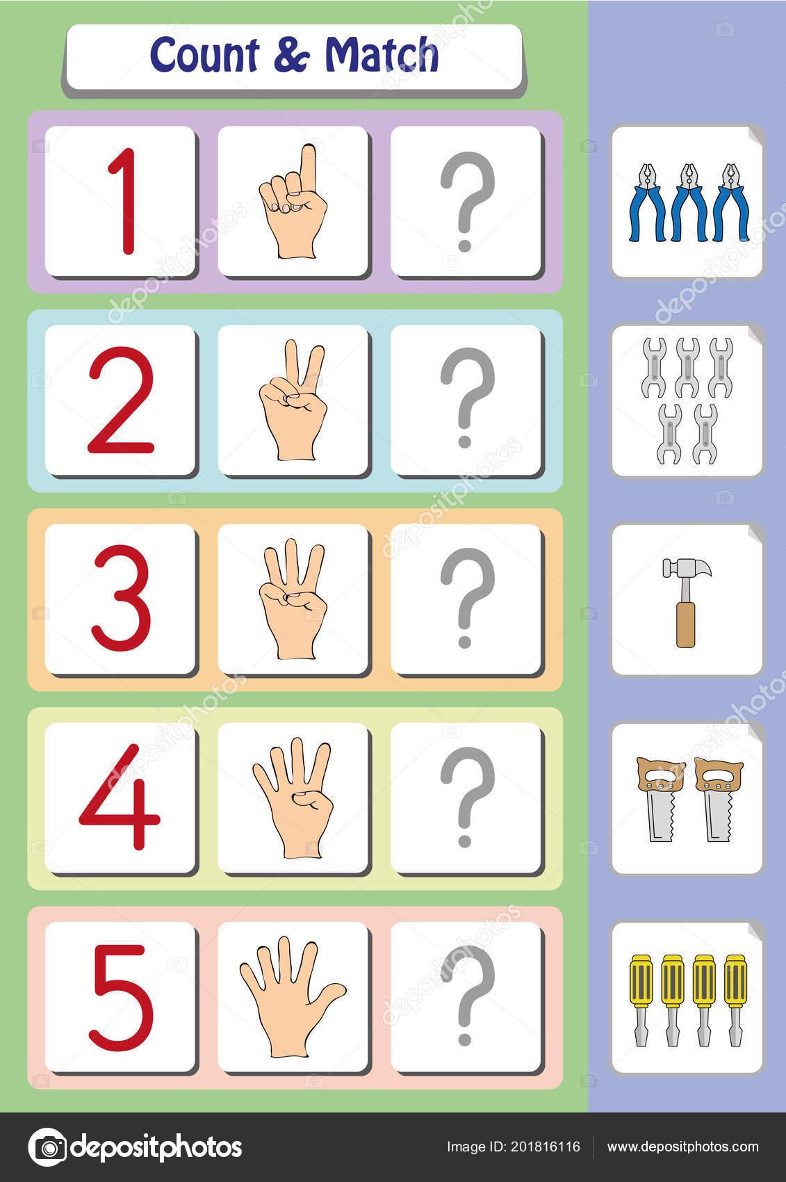 Mathe Arbeitsblatt Für Kindergarten Kinder Graf Und Match