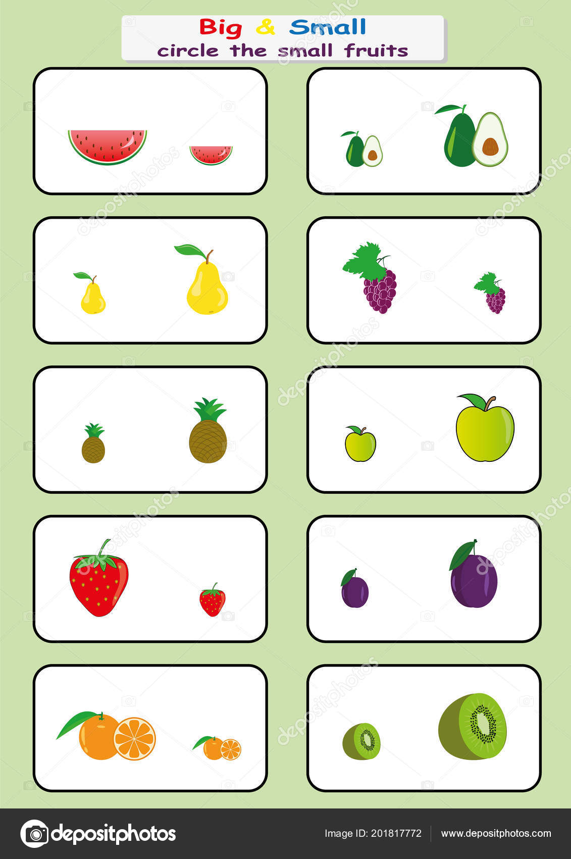 011480aead56 Circle the small fruits, Find Big or Small worksheet for kids ...