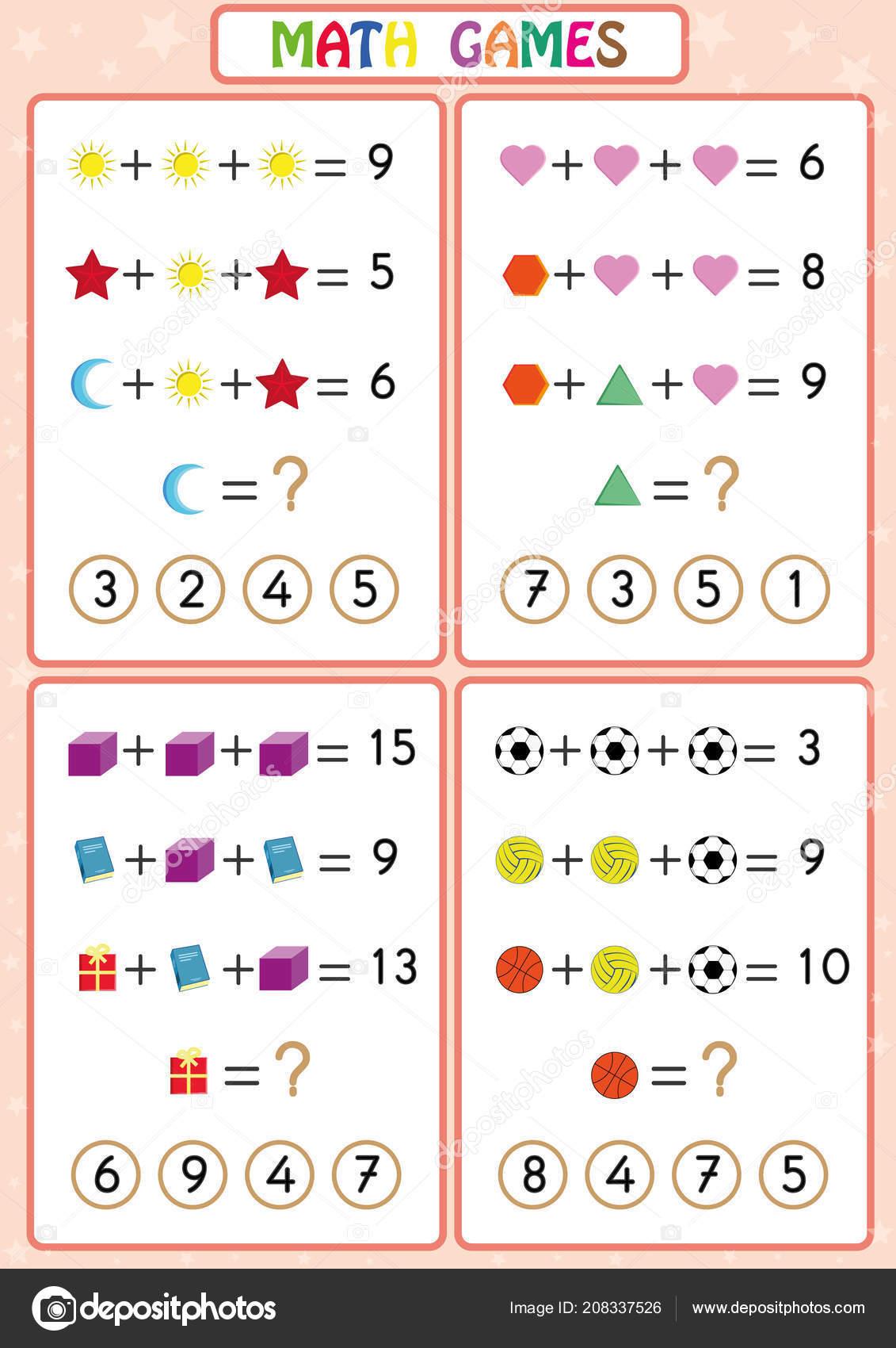 Juego Educativo De Matematicas Para Ninos Divertidas Hojas De