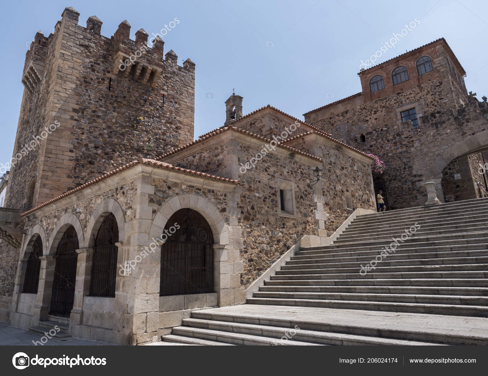 Caceres Spain July 2018 Main Square City Right Monument